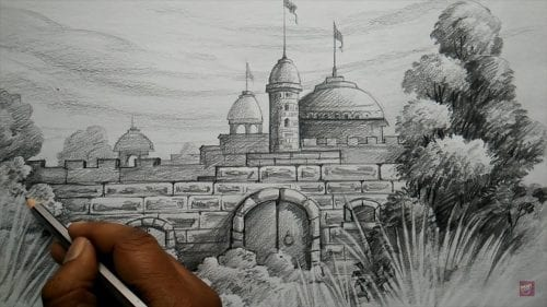 How to Draw FORT with PENCIL, Pencil Shading