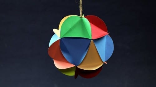 Diy Christmas Decorations Multi Colored Hanging Paper Ball Making