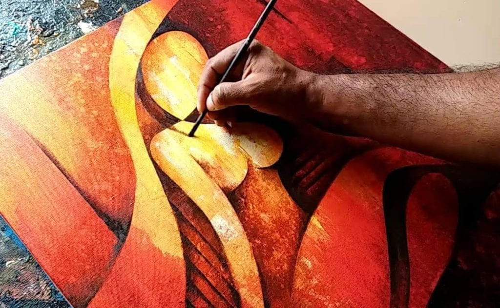 Abstract Figurative Painting In Acrylics 02 Demonstration