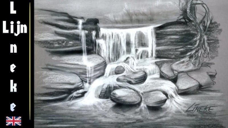 Drawing A Waterfall In Charcoal And White Pastel With Lineke