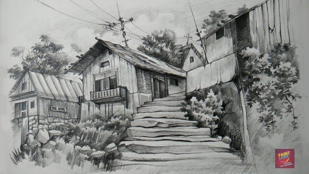 How to draw and shade old wooden houses with pencil by paintlane