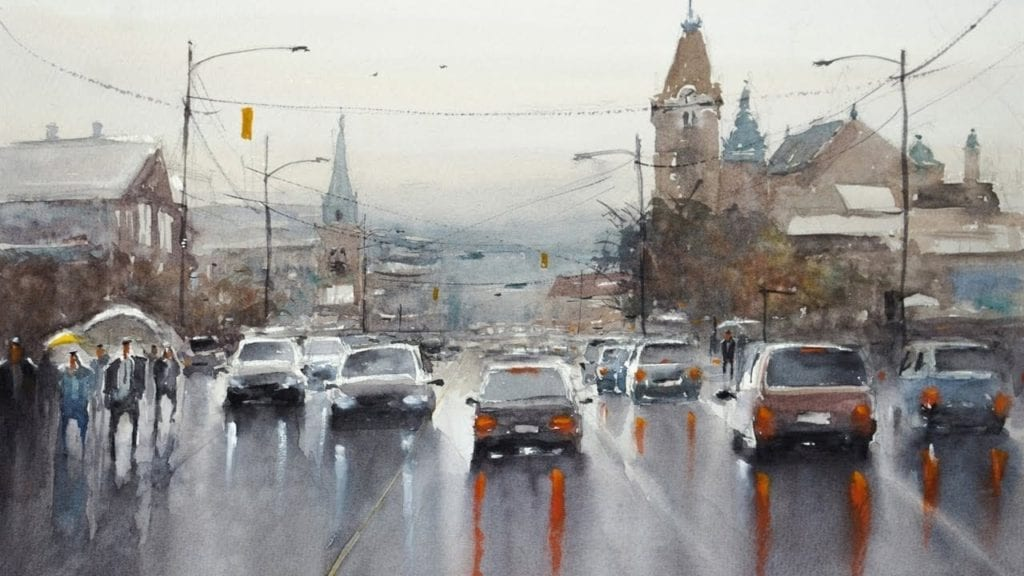 Watercolor Scenery Painting Demo Rainy Day In Vancouver