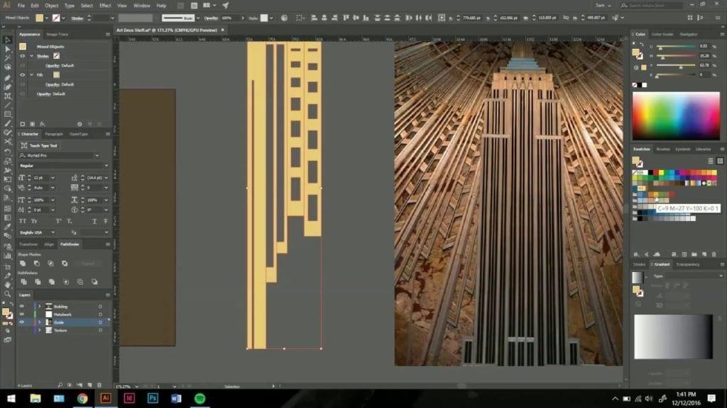 Illustrator tutorial: art deco metalwork with terra cognita design