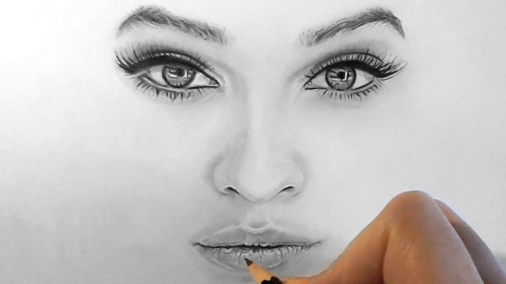 How To Draw Shade Realistic Eyes Nose And Lips With