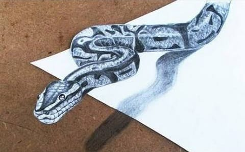 3D Drawings, How to Make 3d Snake Step by Step, Pencil