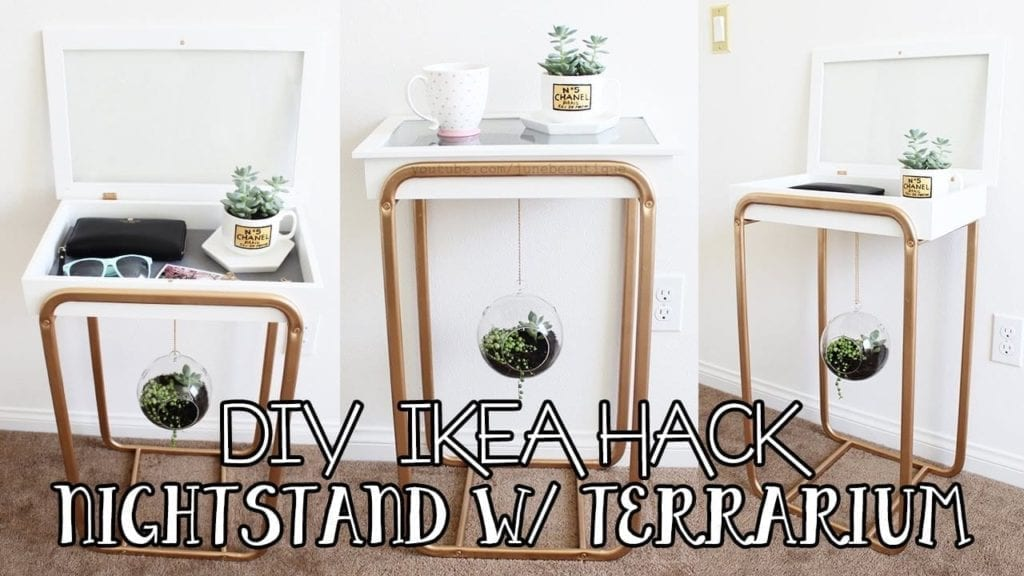 DIY IKEA HACKS, Nightstand with Hanging Succulent Terrarium , DIY IKEA Furniture Hack Hildur K O