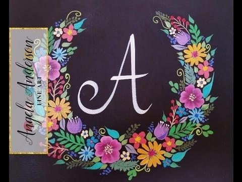 Floral Wreath Chalkboard Acrylic Painting Tutorial Brush