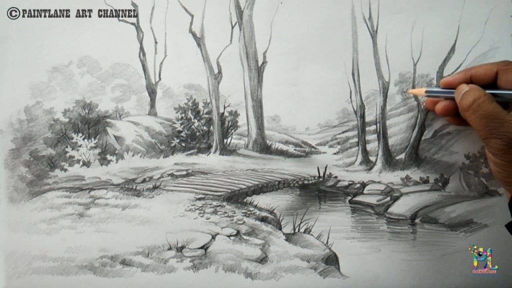 How to draw a easy and simple scenery with pencil step by step hildur k o