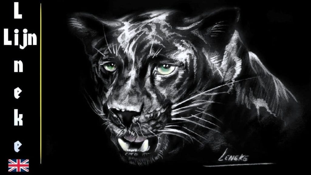 How To Draw A Black Panther On Black Paper Easy Tutorial