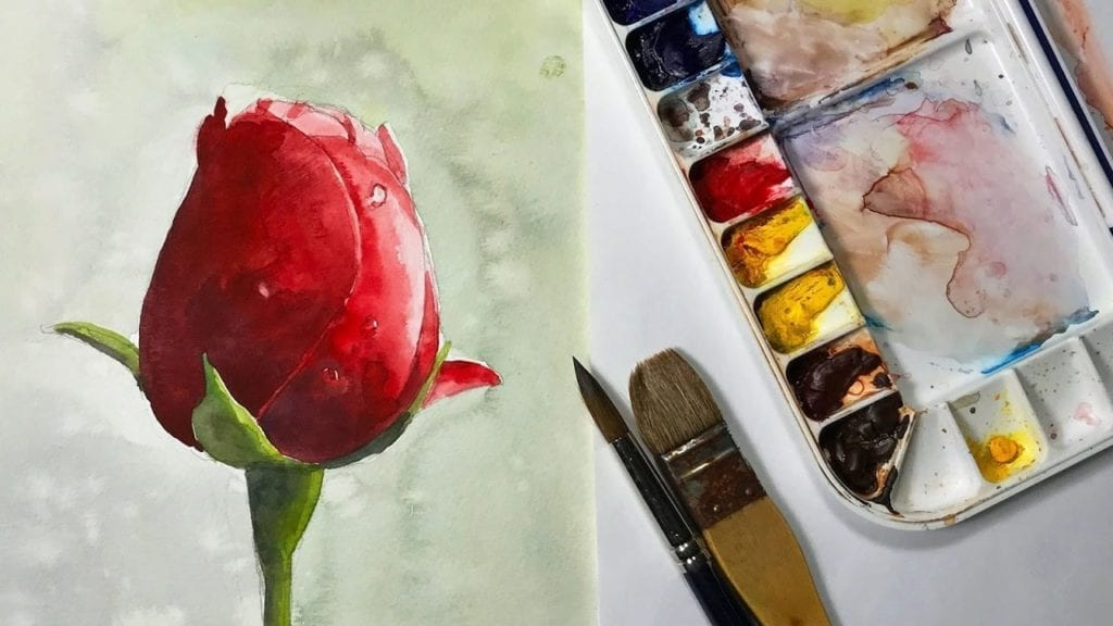 How to Paint a Red Rose bud Watercolor flower painting » Hildur.K.O