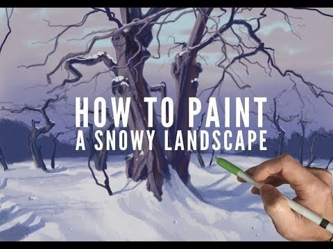 Procreate painting tutorial, HOW TO PAINT A SNOWY LANDSCAPE