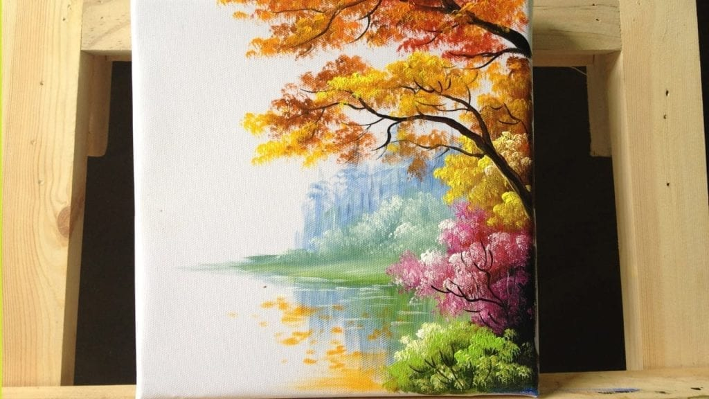 how to paint trees and bushes in acrylics part 2 by acrylic painting