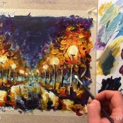 How to paint like Leonid Afremov, Painting lessons by Rybakow.