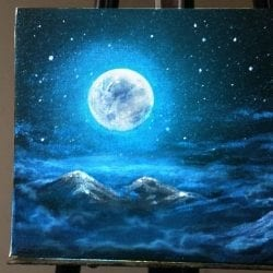 Painting Moonlit Clouds in a Starry Night Sky