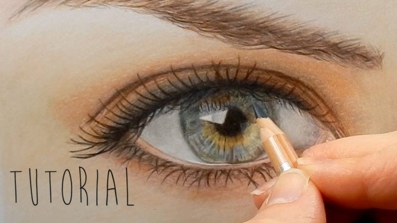 tutorial how to draw color a realistic eye and eyebrow with colored