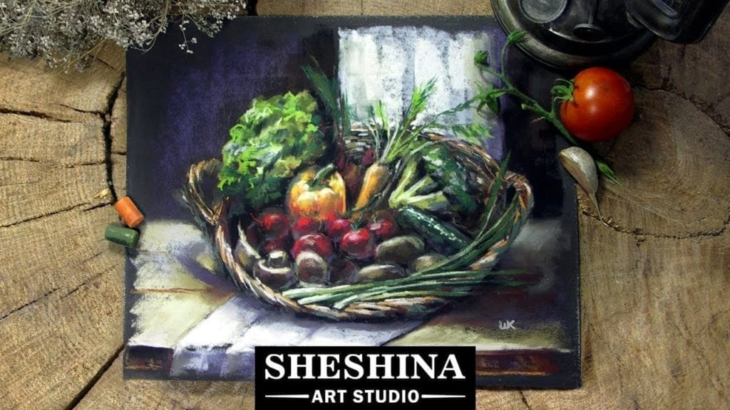 How To Draw Vegetables In A Basket With Soft Pastels Still Life