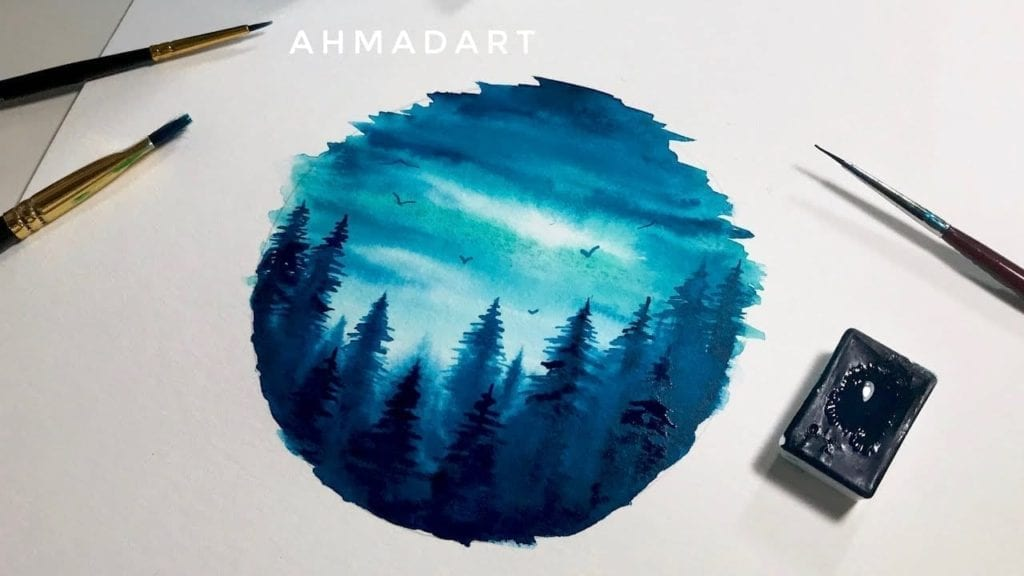Simple Watercolor Forest Circle Tutorial for Beginners ...