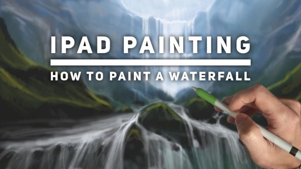Ipad Painting Tutorial How To Paint A Waterfall Landscape