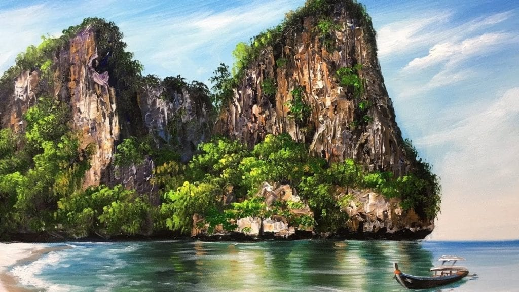 Beautiful Rock Island Beach Acrylic Painting Hildur K O
