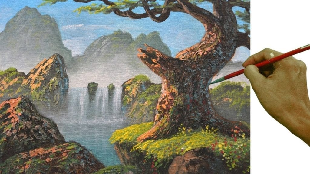 How To Paint Big Old Tree With Waterfall Hildur K O Art
