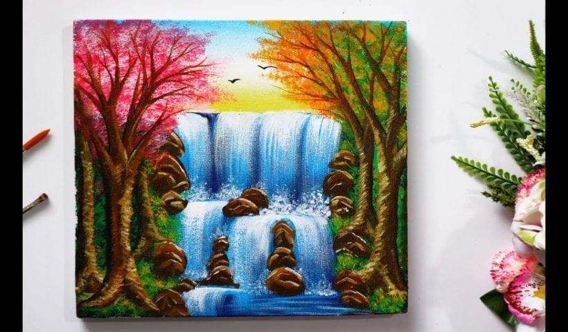 9abe2279e Step By Step Waterfall Landscape Painting for Beginners
