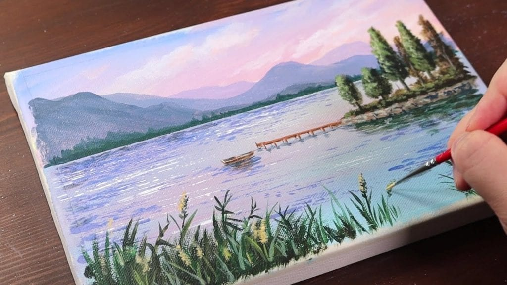 Calm Lake / Easy Acrylic Painting For Beginners #1541 ...